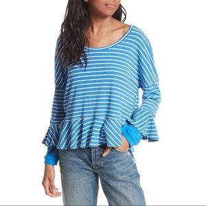 Free People Blue Ribbed Striped Long Sleeve Top